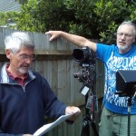 'An Exciting Holiday' director, Alan Cross, discusses the next scene with cameraman Mike Spanton.